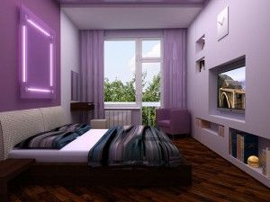Фіолетовий відтінок в спальні